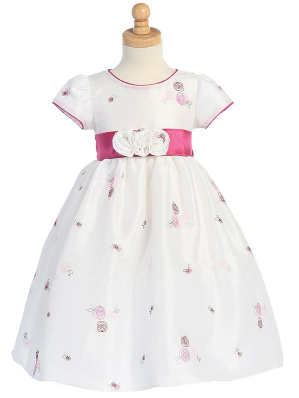 Gorgeous Boutique Pink White Embroidered Flower Girl Party Dress Lito USA - 4T