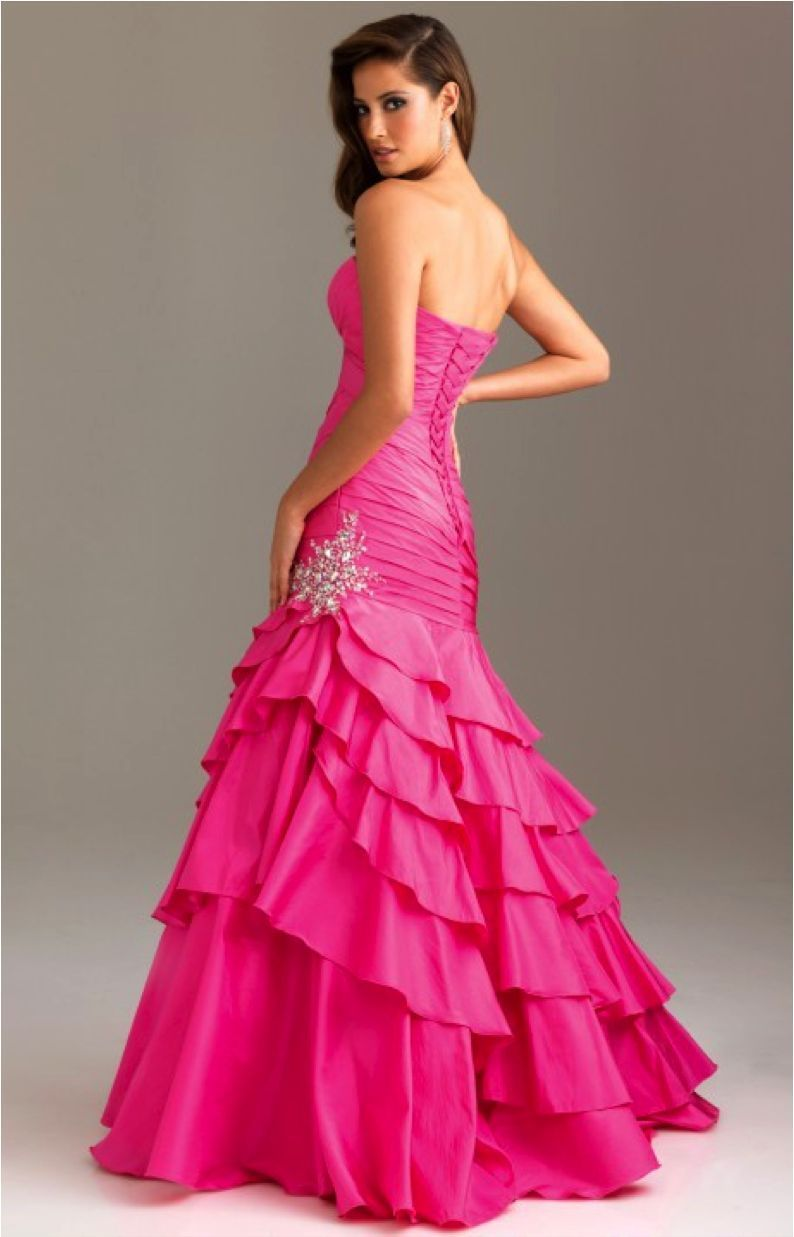 Image 2 of Sexy Strapless Fuchsia Pink Mermaid Prom Pageant Evening Gown Dress, Night Moves