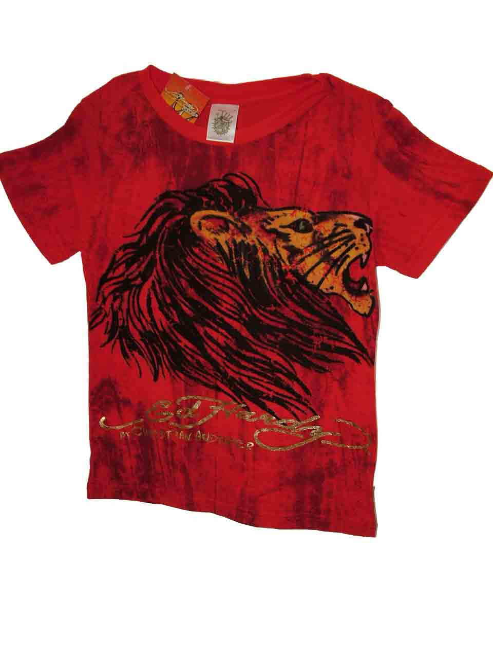 Image 2 of Ed Hardy Boys Bright Red Cotton Marble Tee Shirt - Lion Motif, Short Sleeve