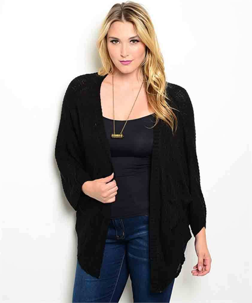 Chic Versatile Plus Size Black Cardigan Sweater Shrug Bolero XL,3XL