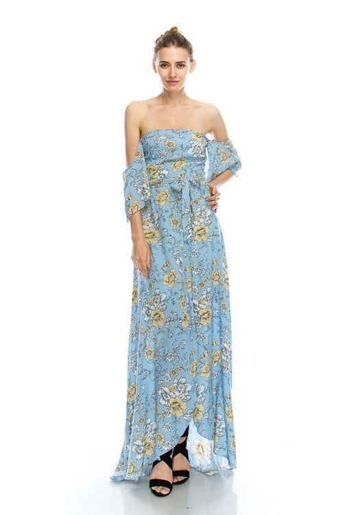 Image 0 of Sky Blue Floral Print Romantic Off Shoulder Maxi Dress S M or L - Light Blue - P