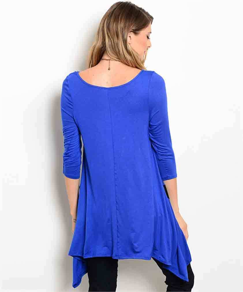 Image 1 of Dramatic Royal Blue Black Elegant Long Jrs Party Cruise Tunic Top S M or L