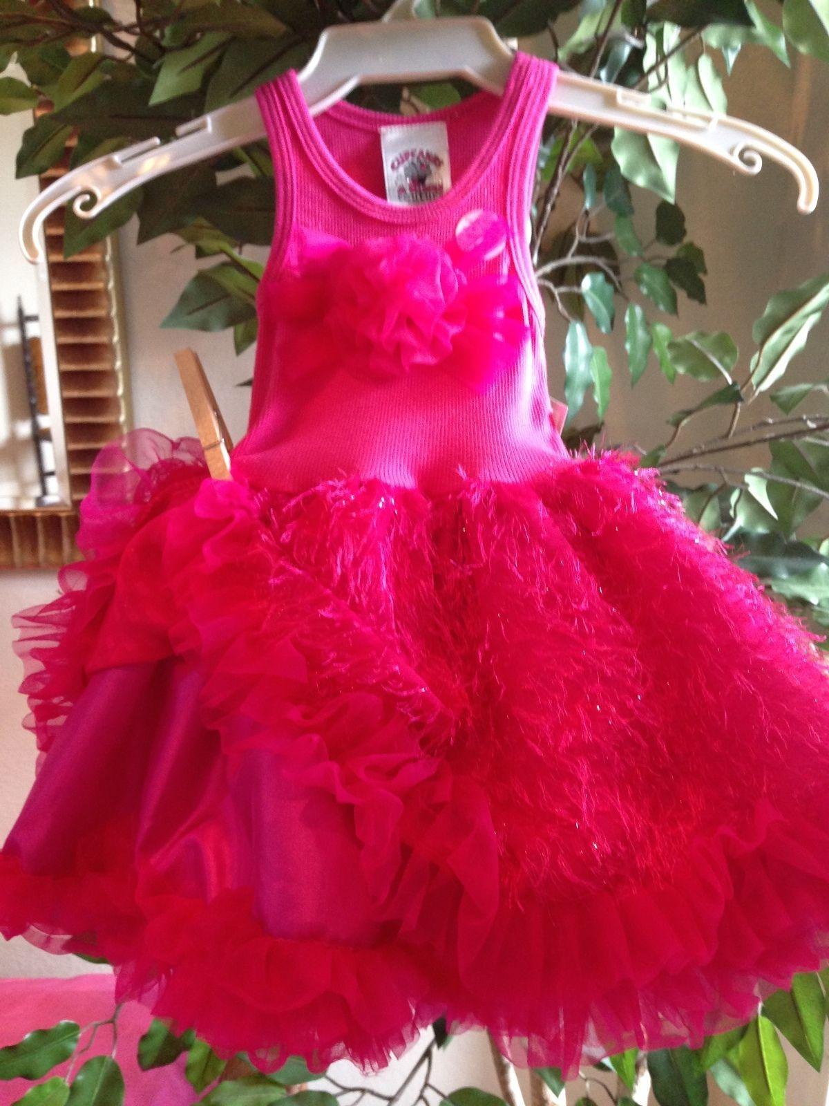 Image 3 of Posh Sparkly Fuchsia Eyelash Chiffon Pink Tutu Dress, 6M-5/6 USA Cupcakes Kisses