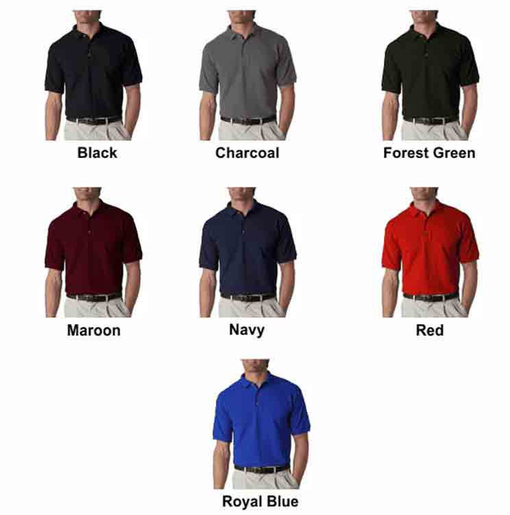 Image 4 of Pocket Polo Golf Shirt Gildan 8900, Adult, Hot Sports Colors, Cotton Blend - Bla