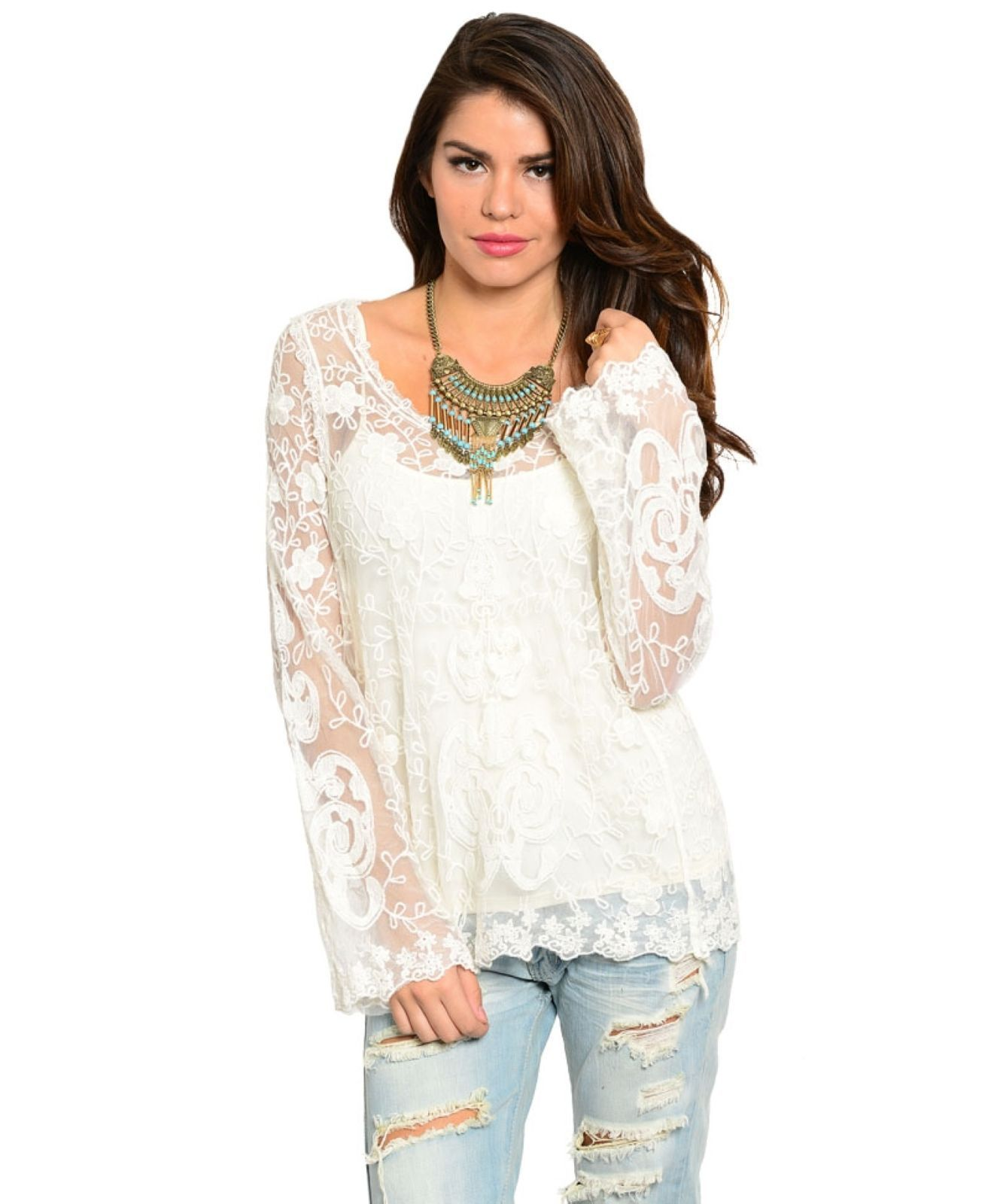 Image 1 of Romantic Sexy Boho Lace Jrs Tunic in White or Black, Party or Casual Dress-up -