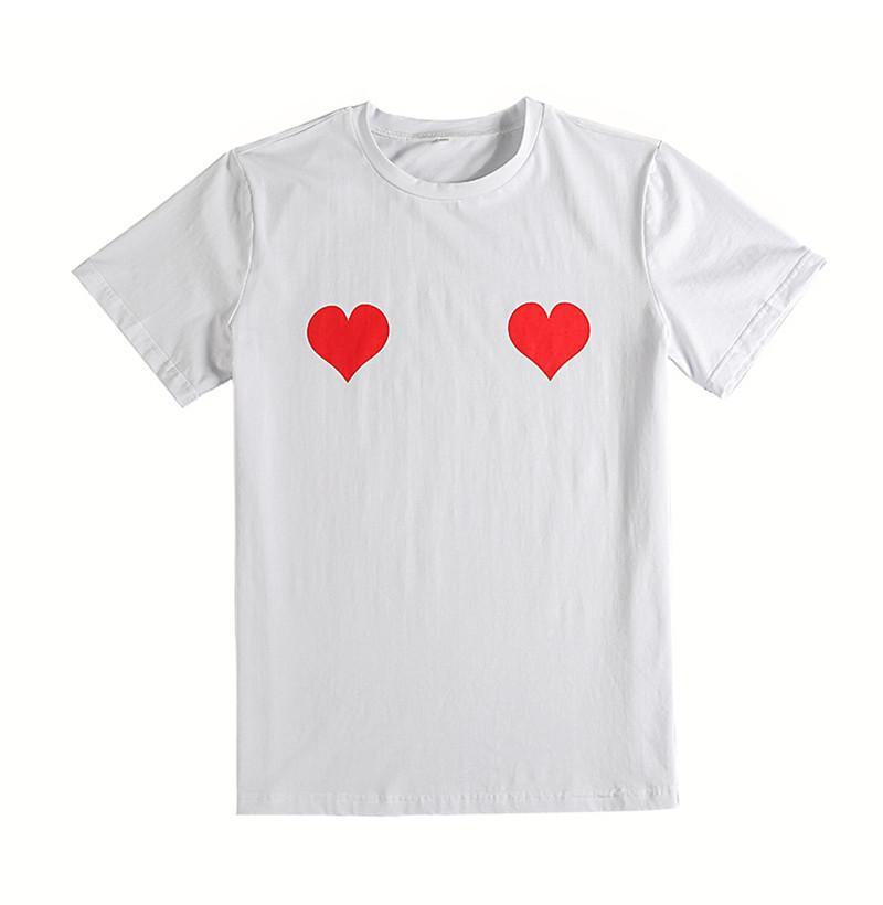 2017 95% Cotton Novelty Naughty Girl Heart printing T Shirt Women white punk cas - White - S