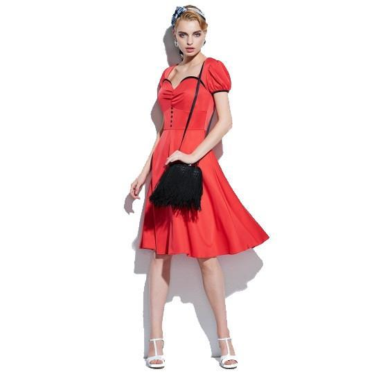 1950's Rockabilly Style Women's Vintage Dress - Red - S