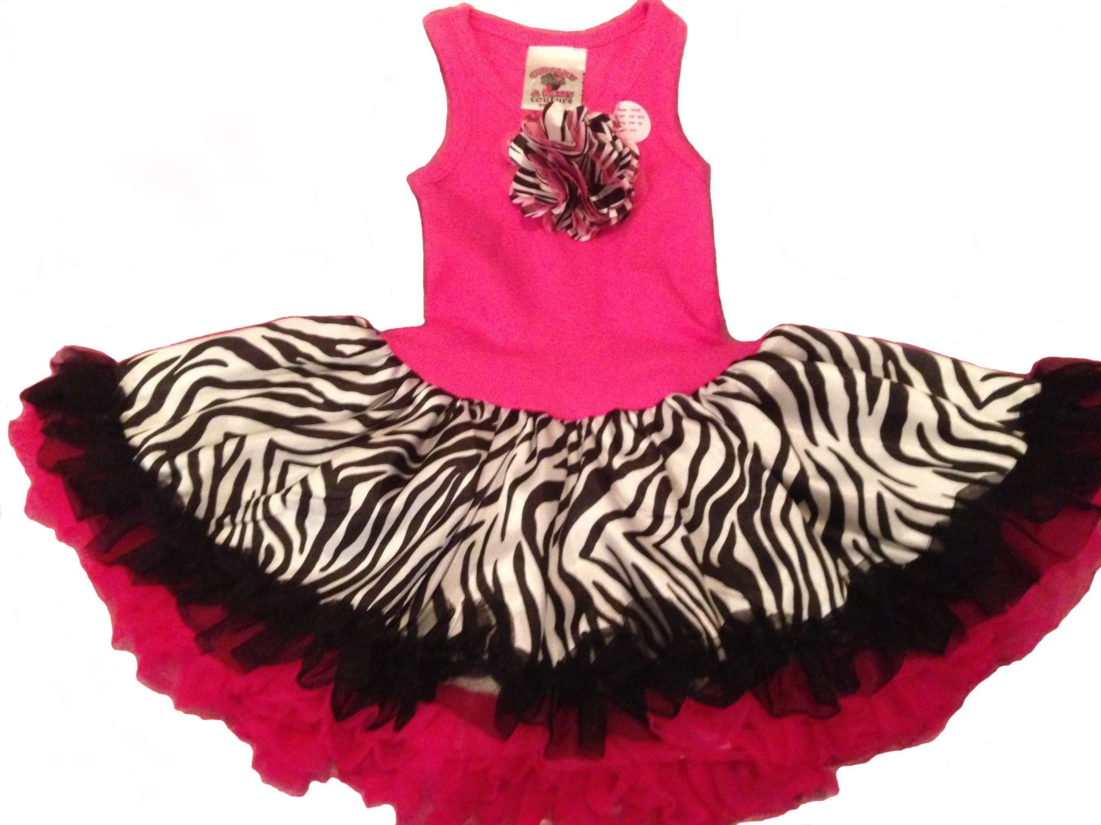 Fun Hot Pink Zebra Chiffon Sleeveless Tutu Dress, 6M-5/6 USA, Cupcakes & Kisses
