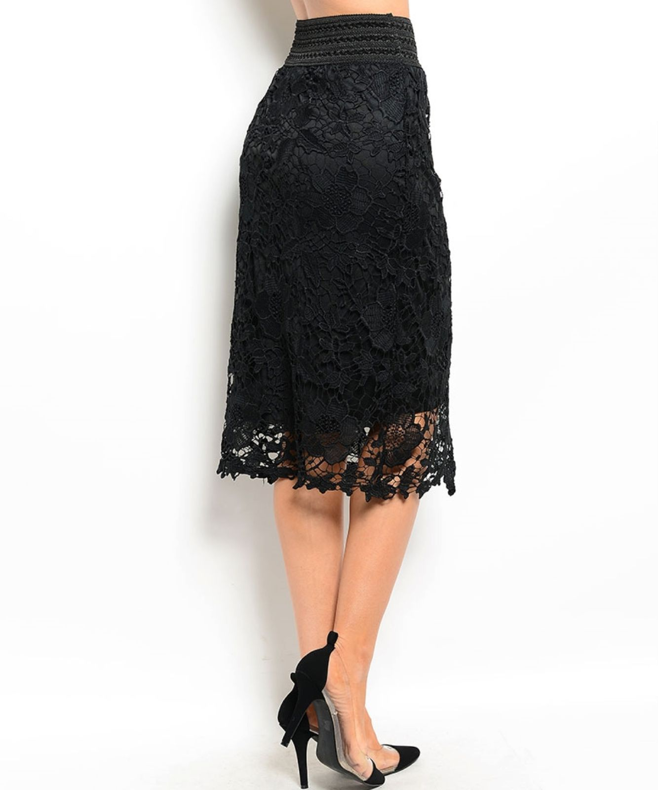 Image 4 of Chic Crochet Lace Lined Jr Skirt, Cocktail Club Party, Black, Ivory or White - B