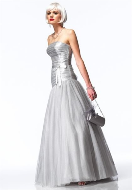 Image 0 of Sexy Strapless Alyce Prom Evening Corset Gown Dress, Sizzling Silver or Gold - G