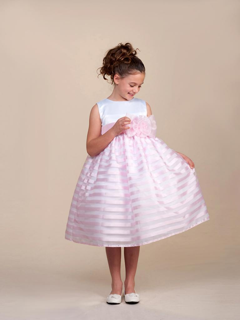 Stunning Pink Striped White Top Flower Girl Party Pageant Dress, Crayon Kids USA