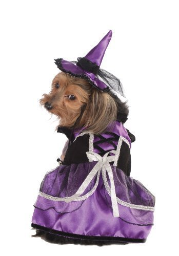 Image 0 of Rubie's Pet Costume, Extra-Large, Purple Witch Dress and Hat