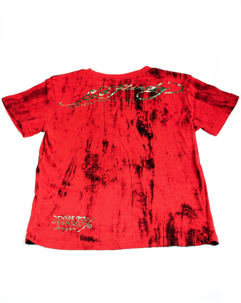 Image 1 of Ed Hardy Boys Bright Red Cotton Marble Tee Shirt - Lion Motif, Short Sleeve