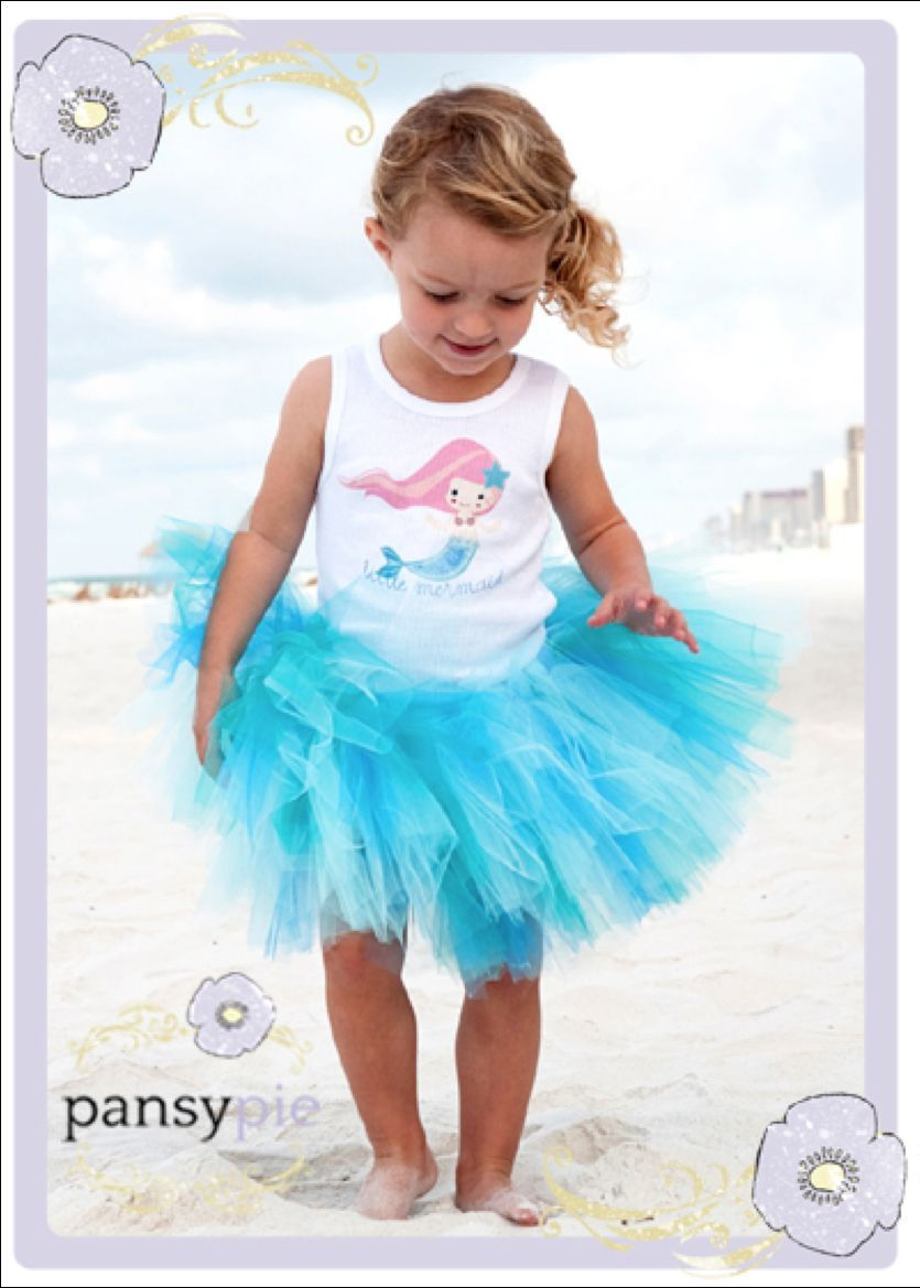 Image 3 of Beautiful Pansy Pie Little Mermaid Tank Top Poofy Ocean Blue Tutu Boutique Set -