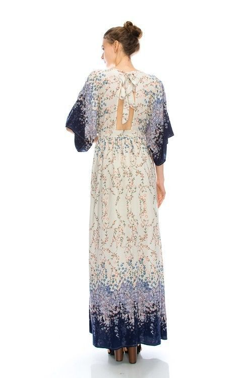 Image 1 of Dainty Floral Ivory Cream and Purple Romantic Maxi Dress S M or L, Lola's