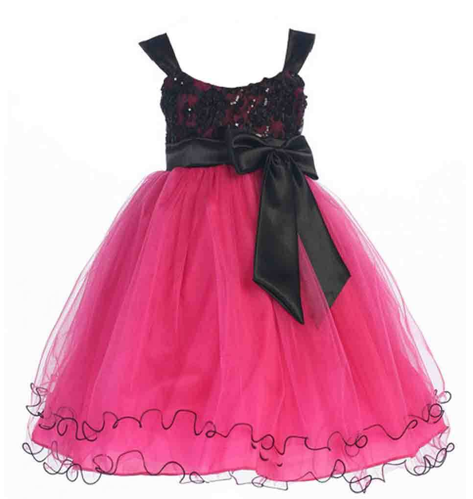 Image 1 of Stunning Girl's Chic Fuchsia/Black Flower Girl Pageant Party Dress, USA - Fuchsi