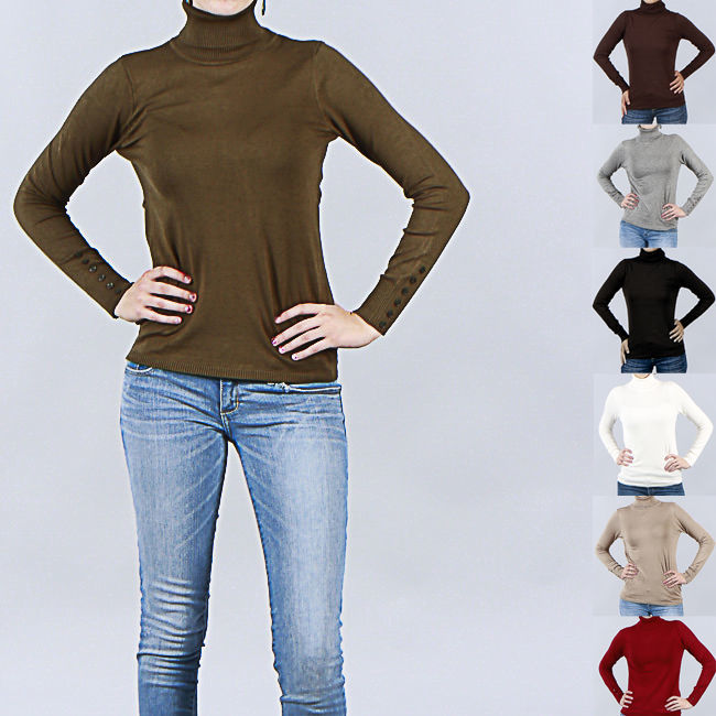 Image 1 of Chic Trendy Harve Benard Ladies Designer Solid Turtleneck, Button Cuffs 4 Colors