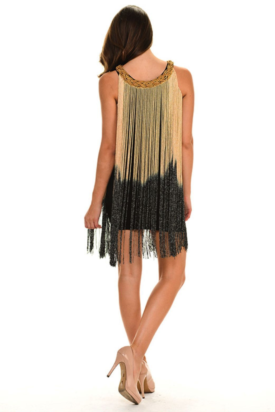 Image 2 of Sexy Jrs Fringe Black, Gold/Black, Red/Black Lined Party Mini Dress S, M, L - Bl