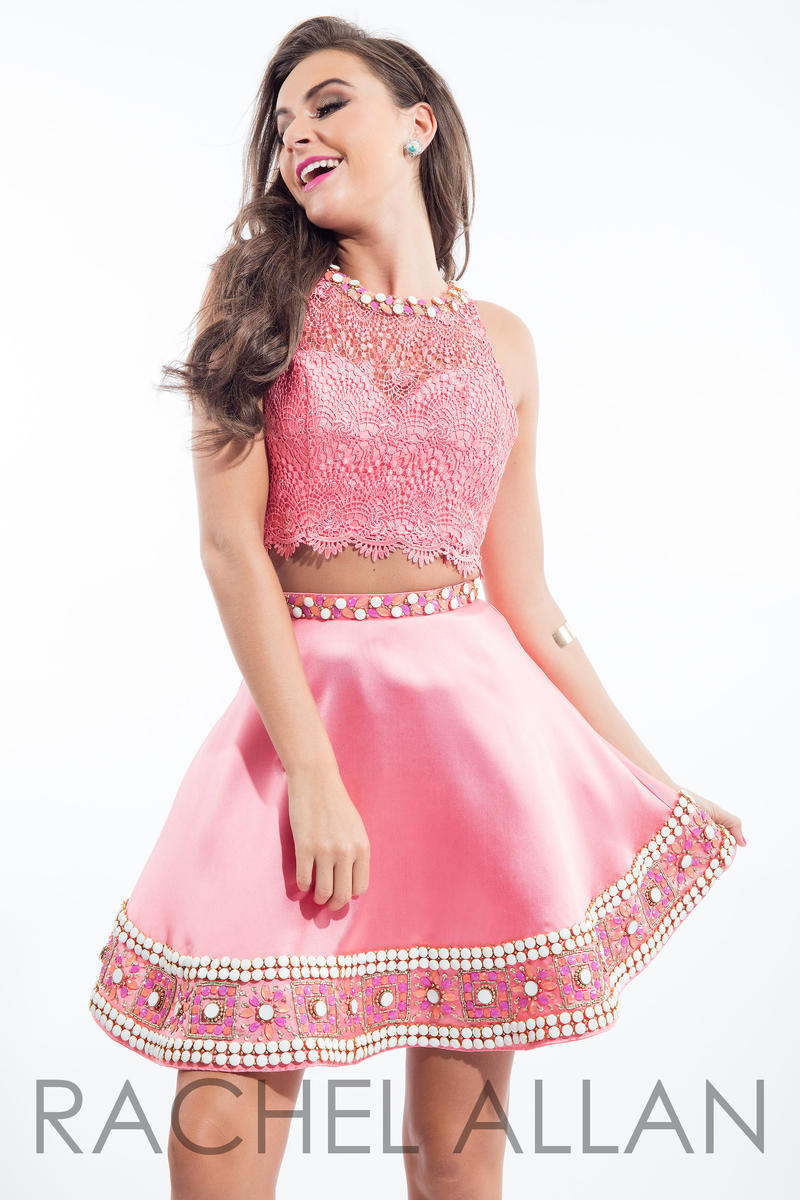 Image 4 of Flirty Lace Posh Beads 2-Pc Coral Pink Rachel Allan 4105 Short Prom Party Dress