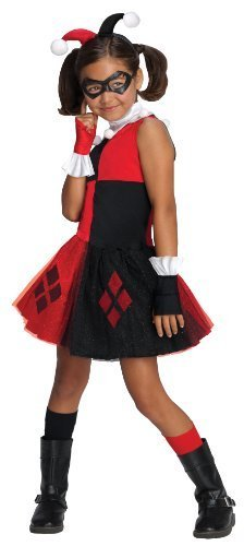 DC Super Villain Collection Harley Quinn Girl's Costume with Tutu Dress, S or M