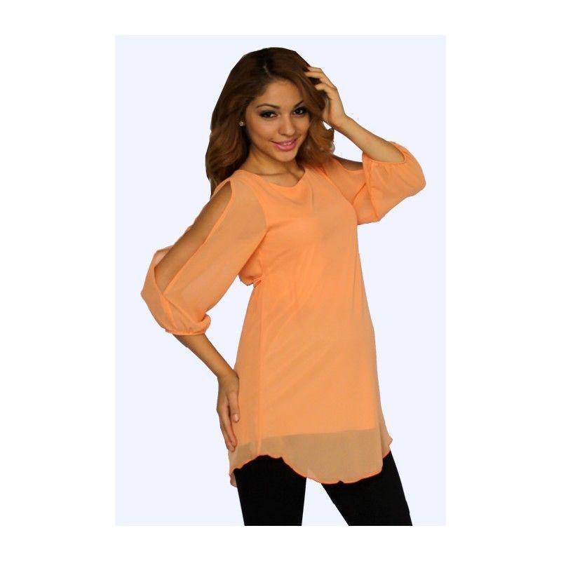 Sexy Fun Pastel Orange Split Sleeve Maternity Tunic Top, S, M, L or XL, USA - Or