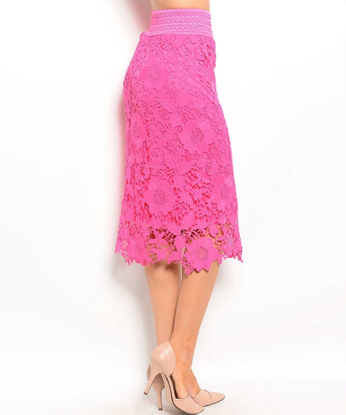 Image 2 of Chic Crochet Lace Lined Jr Skirt, Cocktail Club Wedding Party, Fuchsia or Aqua -