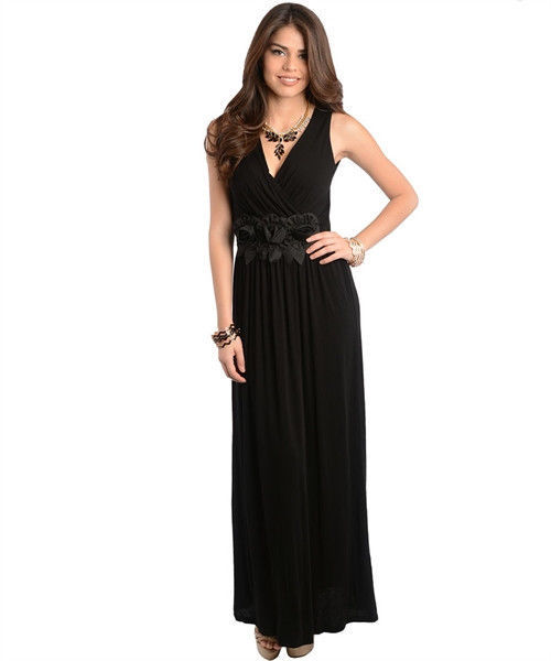 Image 1 of Sexy Party Cocktail Club Cruise Maxi Dress w/Fabric Roses, Black or Red