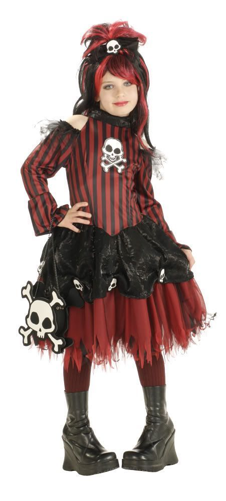 Image 1 of Rockin' Skulls Punky Pirate Red & Black Stripes Girls Costume by Rubies - Red -