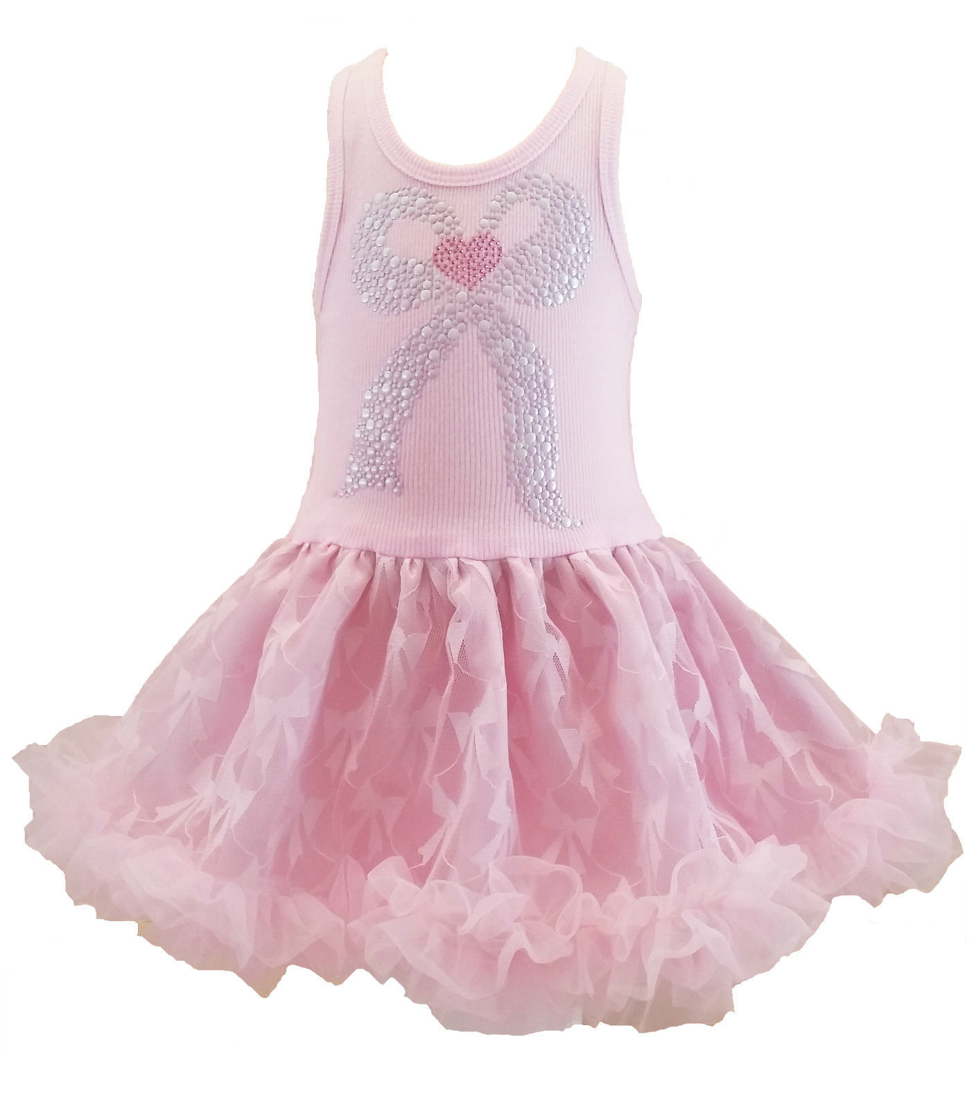 Sweet Pink Misty Bow Chiffon Sleeveless Tutu Dress, 3-6x USA, Cupcakes & Kisses