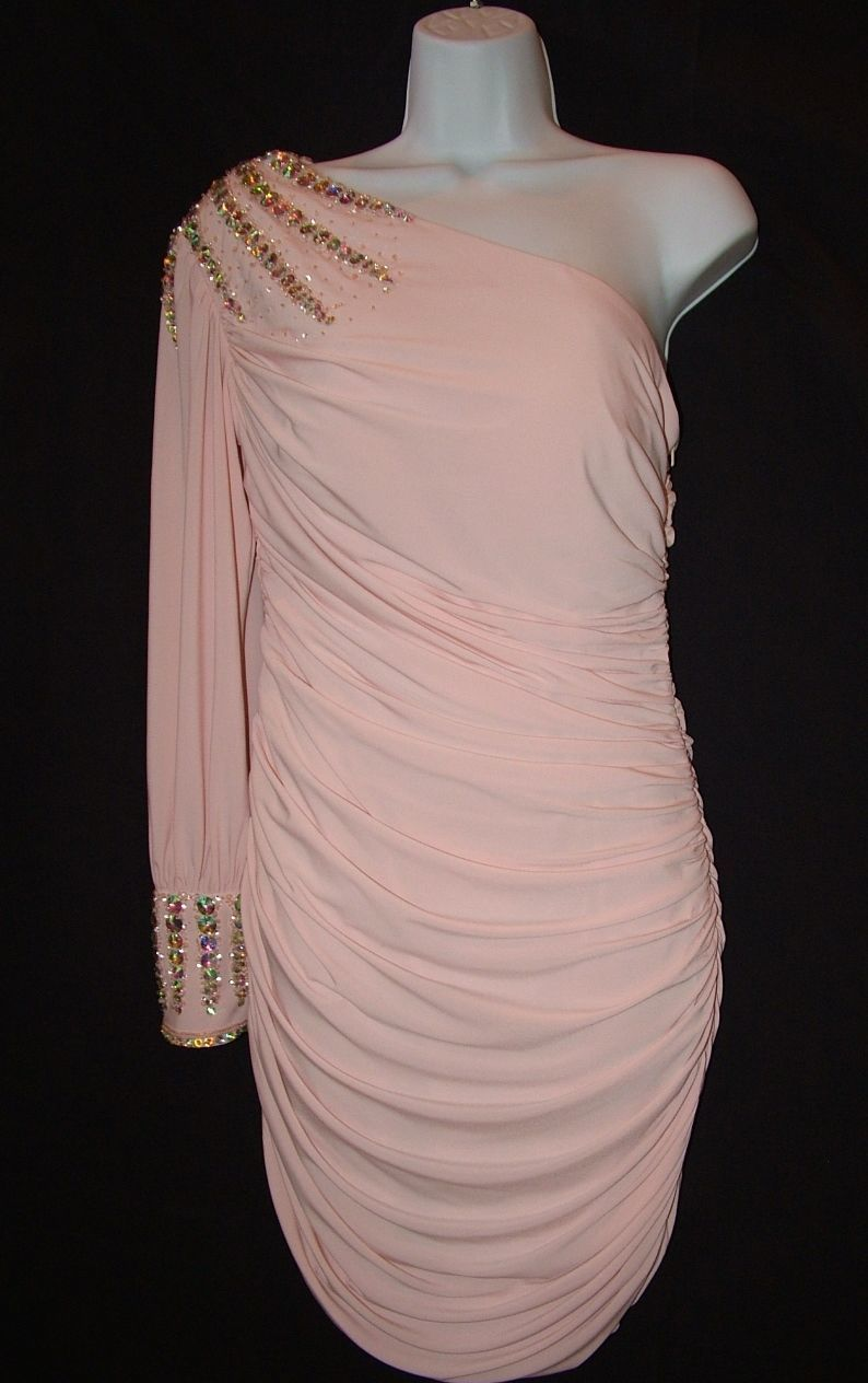Image 1 of Chic Sexy Vienna Prom Short Powder Pink One Shoulder Beaded Party Dress ZH201 -