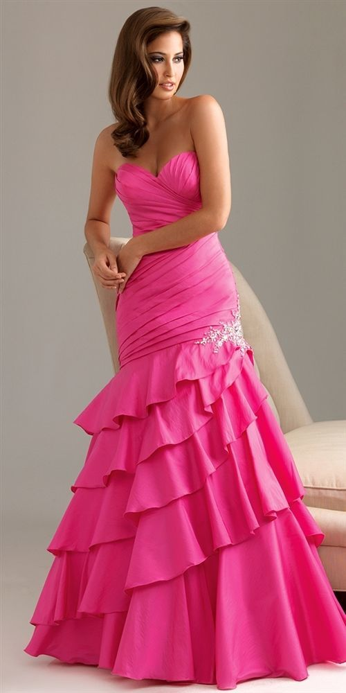 Image 1 of Sexy Strapless Fuchsia Pink Mermaid Prom Pageant Evening Gown Dress, Night Moves