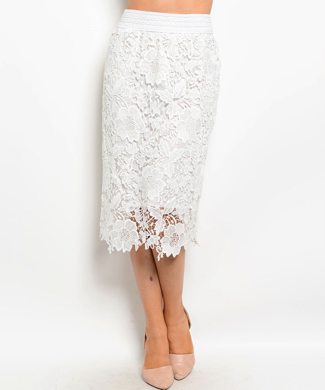 Image 2 of Chic Crochet Lace Lined Jr Skirt, Cocktail Club Party, Black, Ivory or White - B