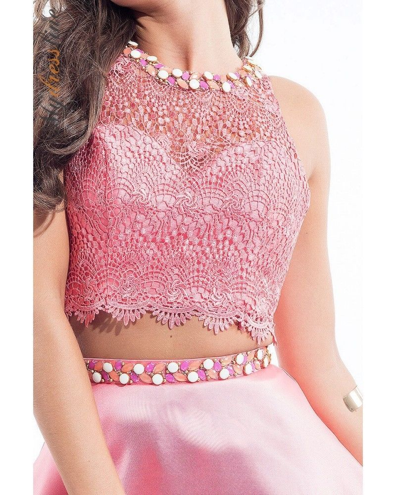 Image 2 of Flirty Lace Posh Beads 2-Pc Coral Pink Rachel Allan 4105 Short Prom Party Dress