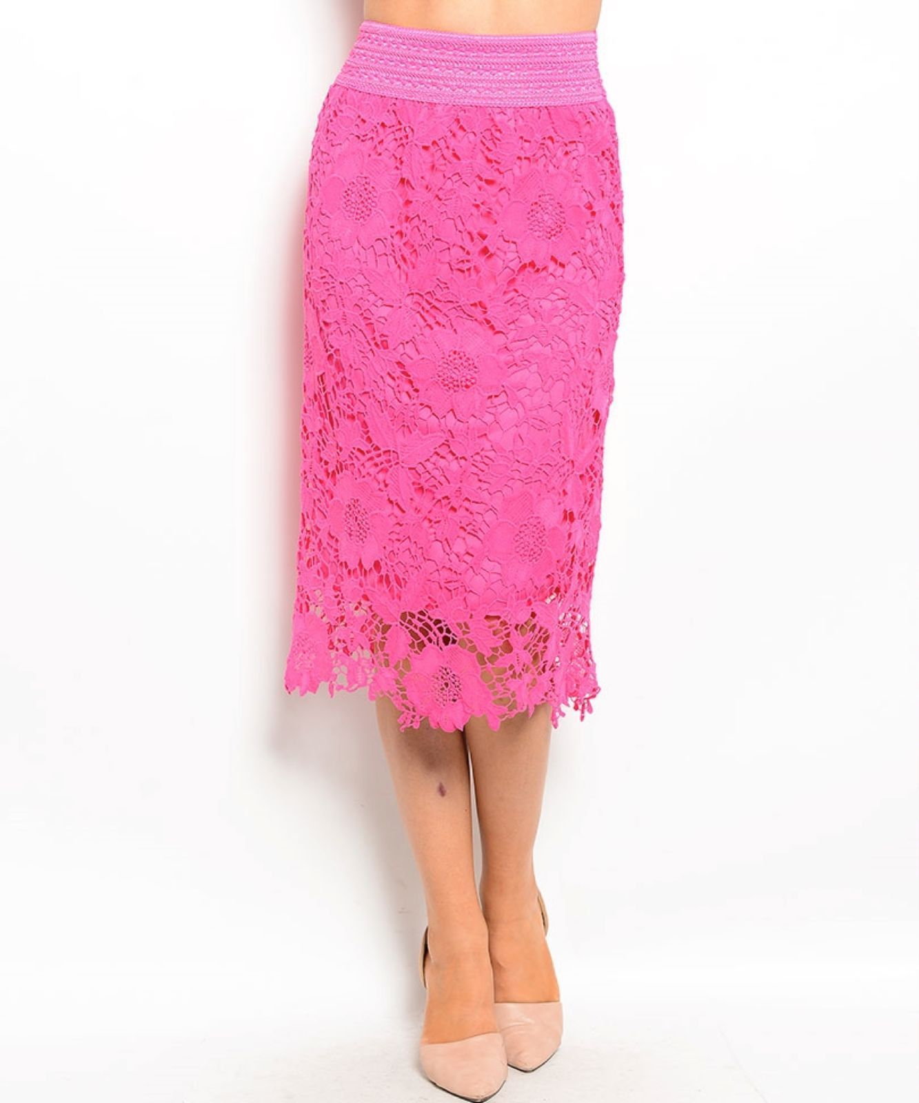 Chic Crochet Lace Lined Jr Skirt, Cocktail Club Wedding Party, Fuchsia or Aqua -