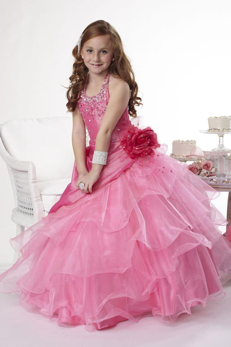 Image 2 of Tiffany Princess Little Girls' Beaded Ruffled Pageant/Flower Gown Dress 4 Pink