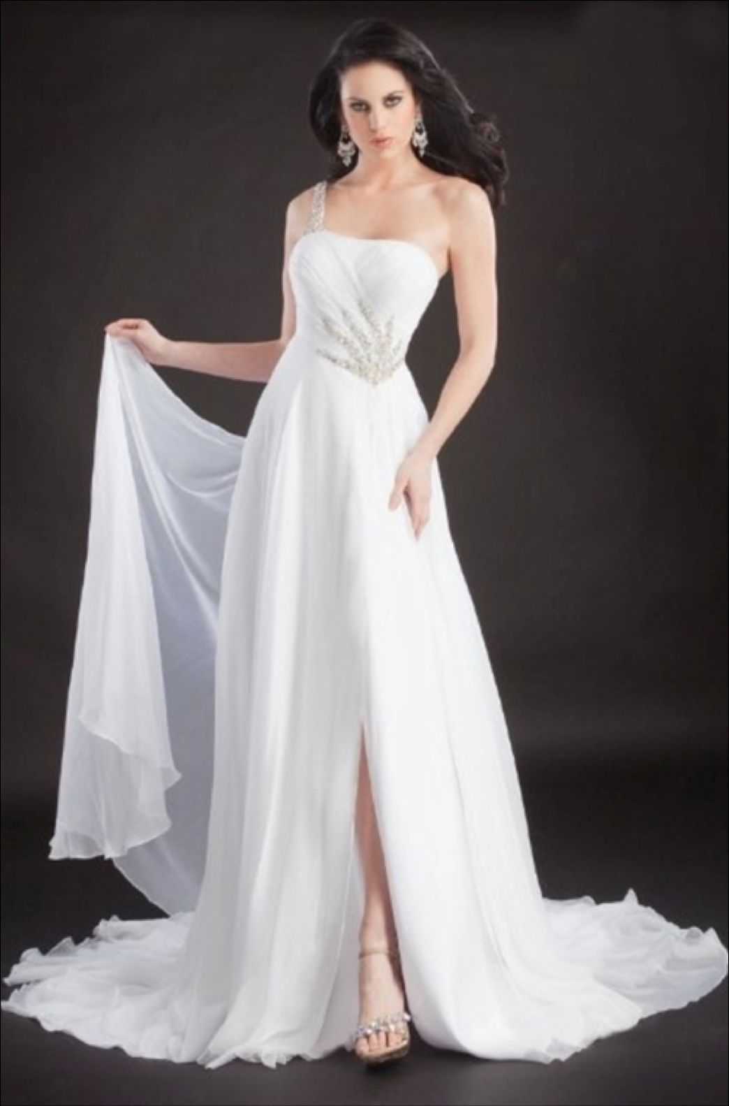 Image 0 of Stunning Sexy Silk Beaded One Strap Pageant Prom Gown, Prima Donna 5581 - White