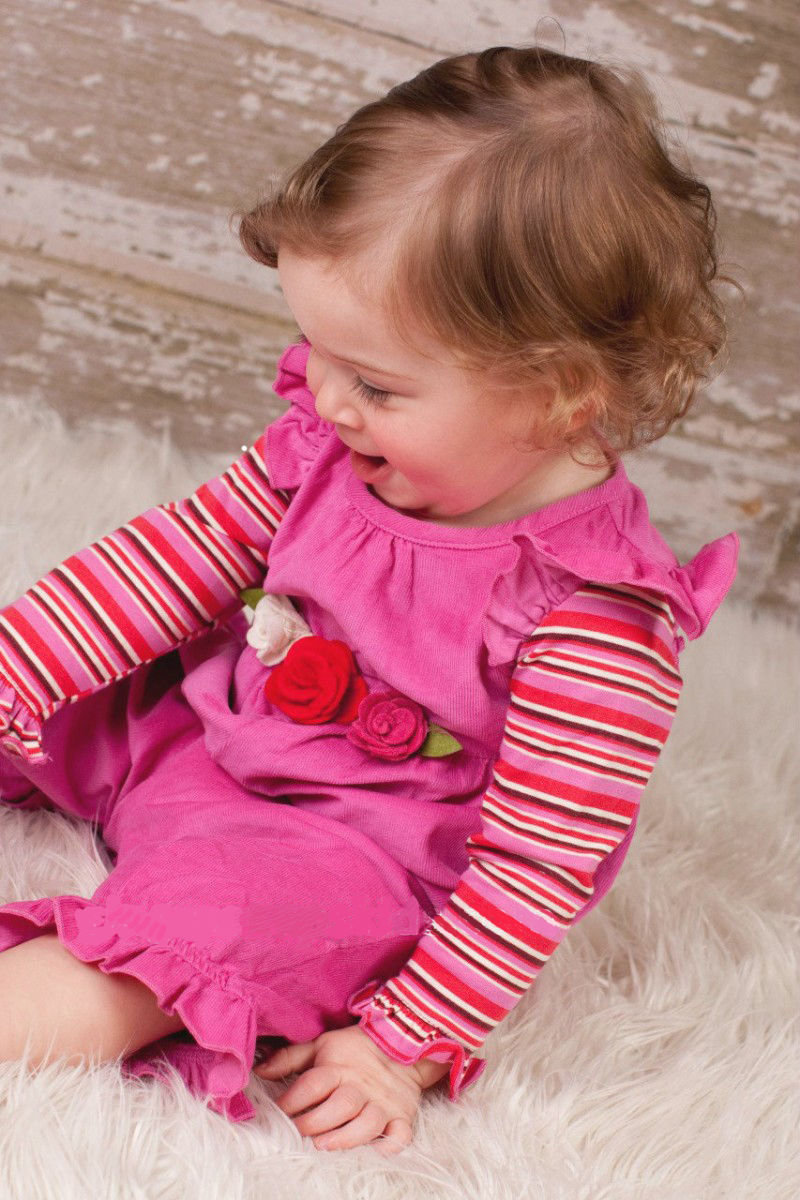 Image 2 of Precious Baby Nay Butterfly Sleeve Rose Motif Baby Girl Pink Cord Long Romper -