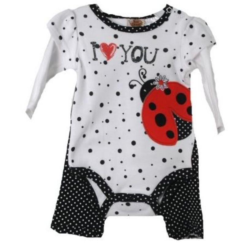 Image 1 of Posh Baby Grand White Black Polka Dot Lady Bug Infant Creeper w/Ruffled Pants -