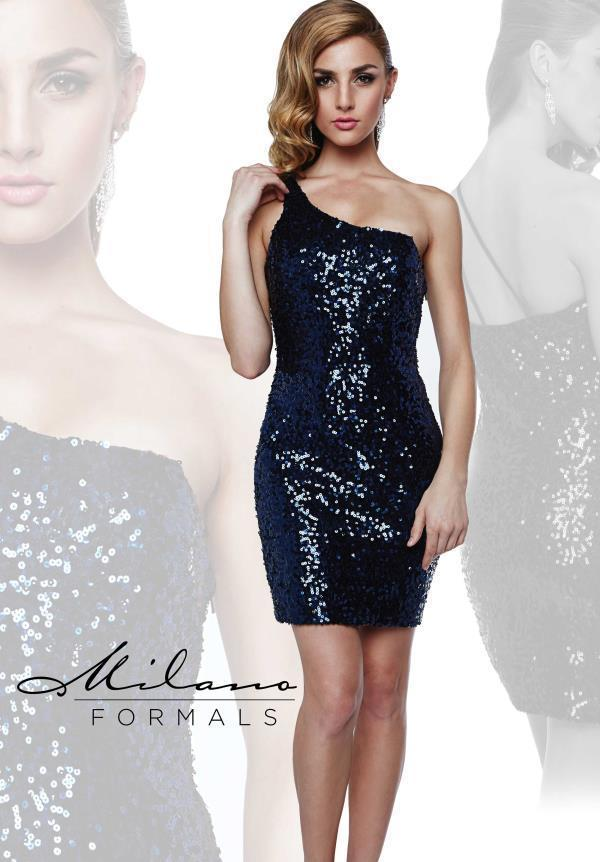 Image 0 of Milano Formals E1606 Sequin Navy Mini One Shoulder Fitted Party Dress 14