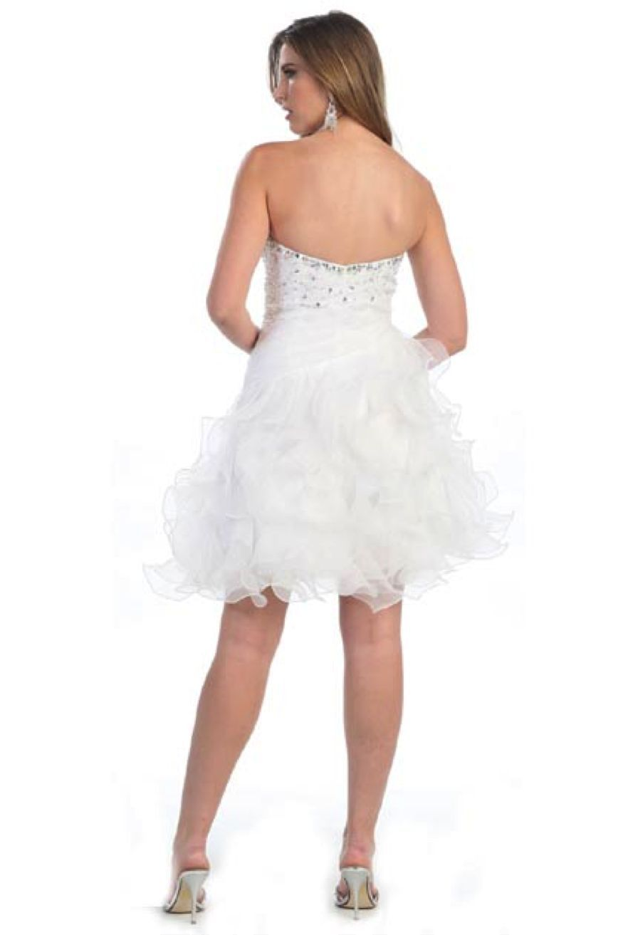 Image 4 of Sexy Strapless Beaded Bodice Ruffled Skirt Short Prom Party Missy Formal Dress -