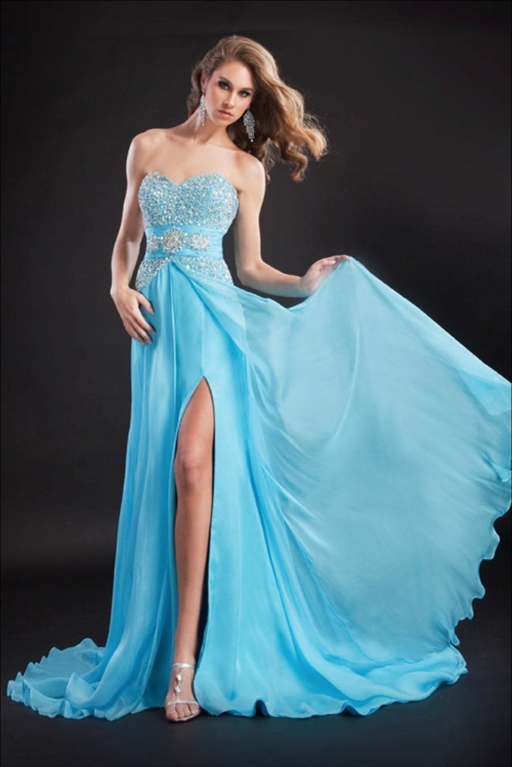 Breathtaking Beaded Sexy Strapless Blue Pageant Prom Silk Gown Prima Donna 5583