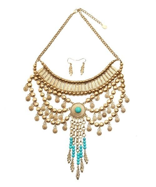 Stunning Turquoise and Gold-Tone Statement Fashion Necklace and Earring Set