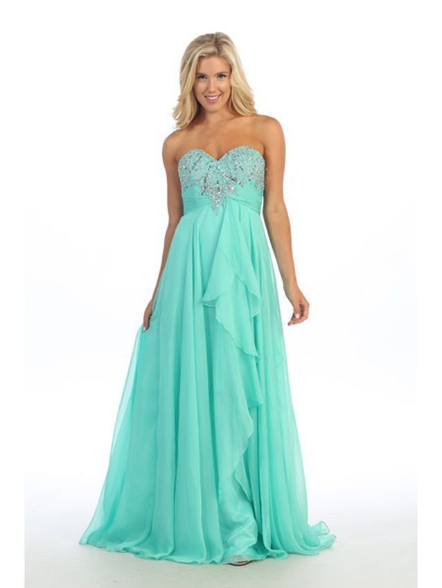 Romantic Sexy Strapless Mint Long Chiffon Evening Gown/Prom Dress/Beaded Bodice