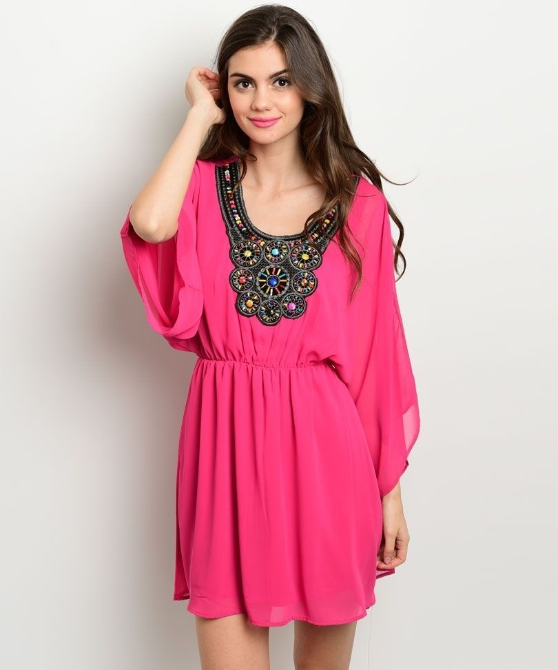 Boho Chic Juniors Embellished Fuchsia Party Cruise Club Beach Mini Dress USA - P