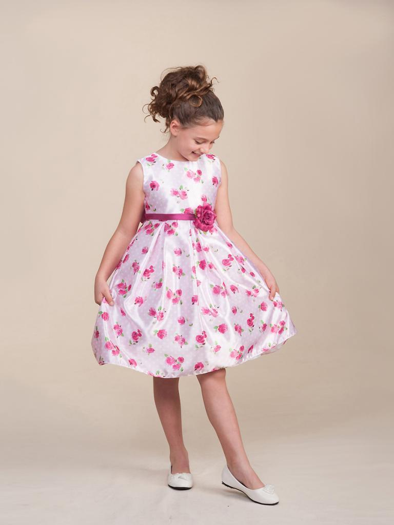Image 0 of Sweet White Sleeveless Pink Floral Flower Girl Pageant Dress Crayon Kids USA 979