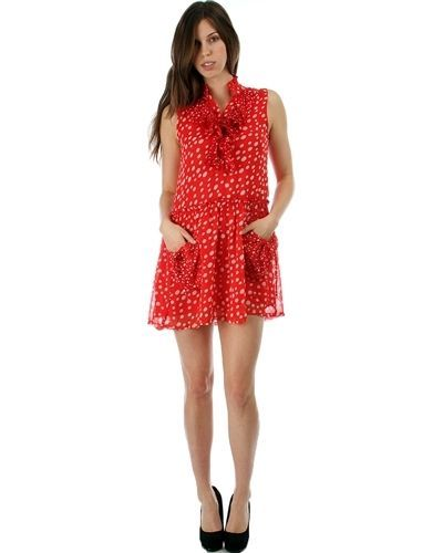 Image 0 of Sweet Flirty Red Chiffon Polka Dot Sleeveless Anytime Mini Dress w/ Pockets - Re