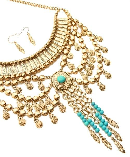 Image 1 of Stunning Turquoise and Gold-Tone Statement Fashion Necklace and Earring Set
