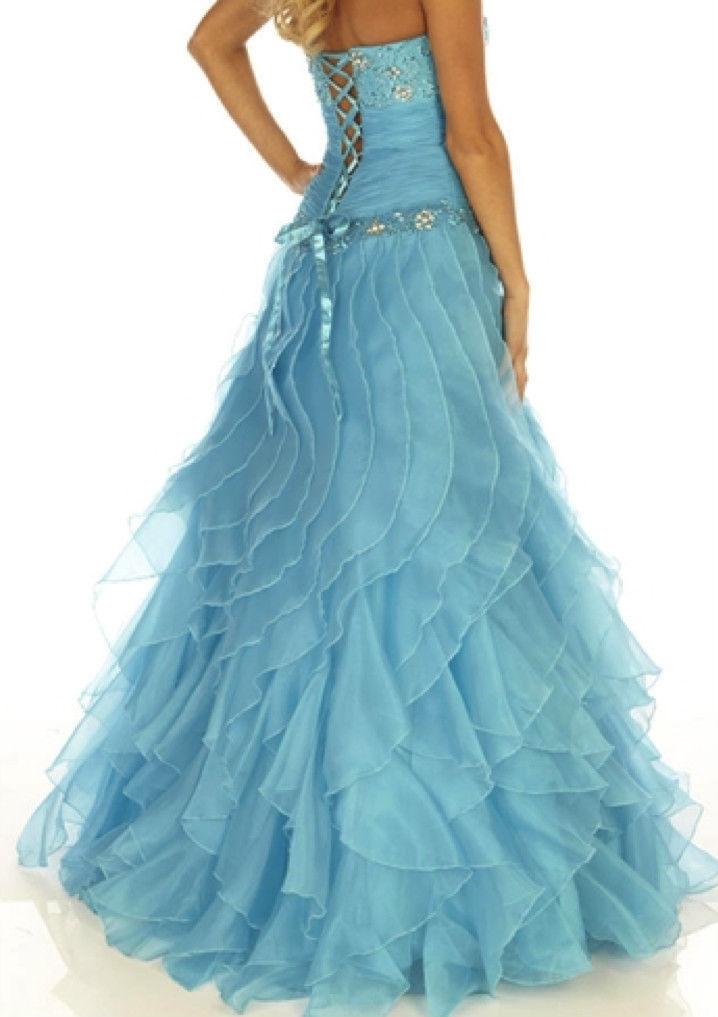 Image 5 of Sexy Strapless Corset Aqua Cinderella Mermaid Prom Evening Gown Joli 9538 12