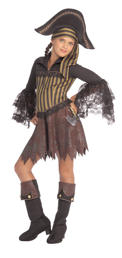 Image 2 of Sassy Glamorous Pirate Girl Complete Costume with Headpiece and Boot Top Rubies