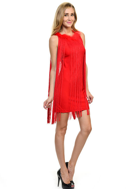 Image 0 of Sexy Jrs Fringe Royal Blue or Red Lined Party Mini Dress Faux Fur Collar S, M, L